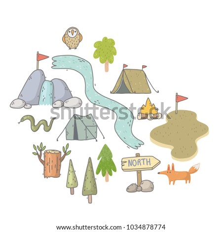 Stock Photo Hand drawn postcard about travel