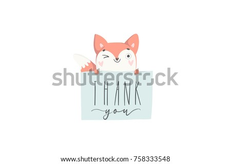Hand drawn postcard with cute fox. Thank you poster in cozy cartoon style. Vector illustration