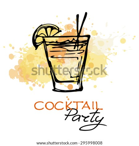 Hand drawn poster. cocktail party on a splash background. Vector. Suitable for poster, promotional flyer, invitation, banner or magazine cover.