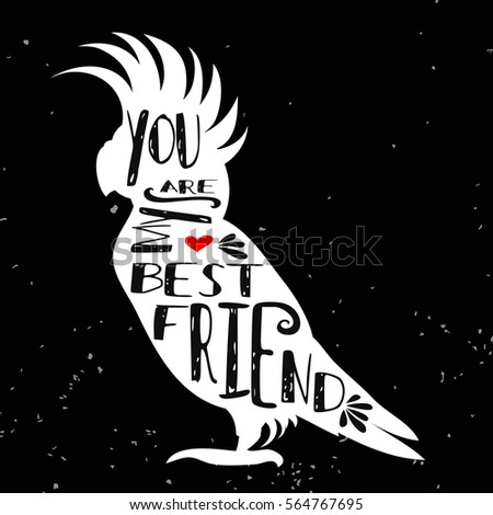 Hand drawn poster with bird silhouette and phrase
