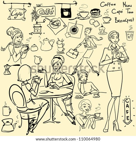 Hand drawn pretty women with cup of coffee or tea, cafe set, sketch