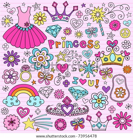 hand drawn princess notebook