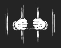 Hand drawn Prisoner Hands in cuffs holding Jail Bars. Vector Illustration.