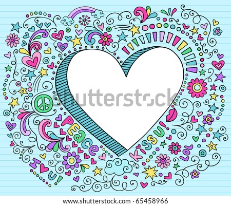 Hand-Drawn Psychedelic Groovy  3D Heart Notebook Doodle Design Elements on Blue Lined Sketchbook Paper Background- Vector Illustration