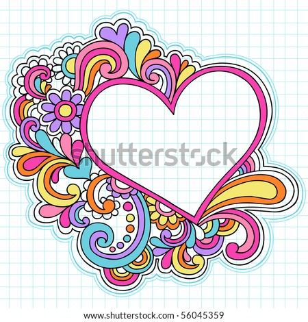 stock vector : Hand-Drawn Psychedelic Groovy Heart Notebook Doodles on Graph (Grid) Sketchbook Paper Background- Vector Illustration