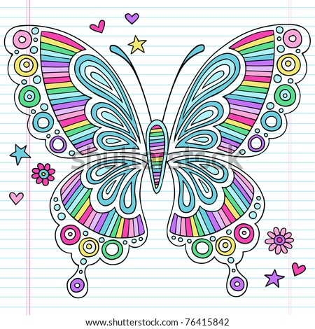 Hand-Drawn Psychedelic Groovy Notebook Doodle Butterfly and Design Elements Set on Lined Sketchbook Paper Background- Vector Illustration