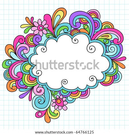 Hand-Drawn Psychedelic Groovy Notebook Doodle Cloud Speech Bubble Design Element on White Graph (Grid) Sketchbook Paper Background- Vector Illustration