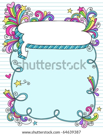 Hand-Drawn Psychedelic Groovy Notebook Doodle Speech Bubble Frame with Stars on Blue Lined Sketchbook Paper Background- Vector Illustration