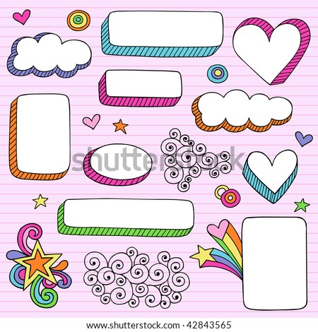 Hand-Drawn Psychedelic Notebook Doodles 3-D Frame Shapes on Lined Paper Background- Vector Illustration