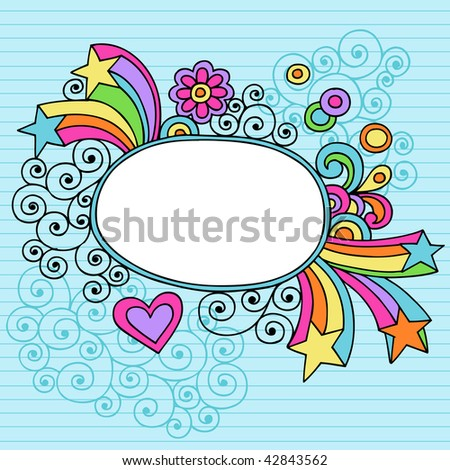 Hand-Drawn Psychedelic Notebook Doodles Oval Frame on Lined Paper Background- Vector Illustration