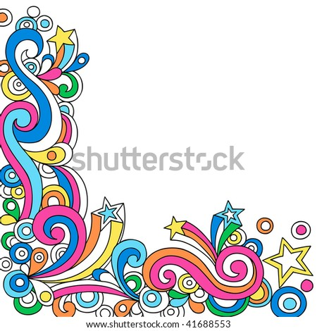Hand-Drawn Psychedelic Star Notebook Doodles- Vector Illustration