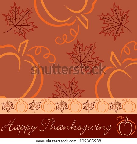 Hand drawn pumpkin and maple leaf Thanksgiving card in vector format.