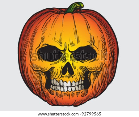 Hand drawn pumpkin skull