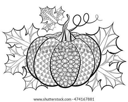 Hand Drawn Pumpkin With Decrative Leaves On Background Vector Illustration In Zentangle Style Sketch