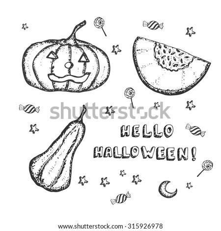 hand drawn pumpkins for