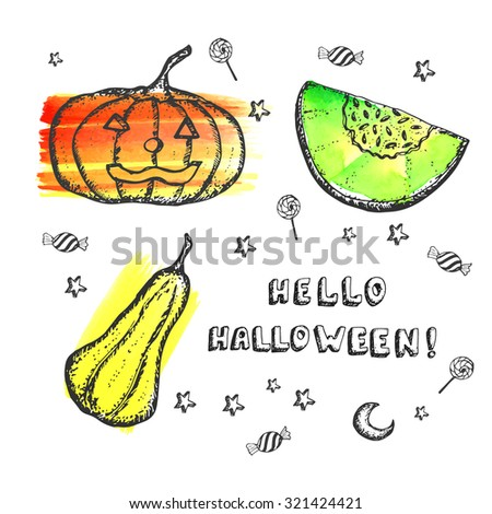 hand drawn pumpkins for