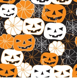 Hand drawn pumpkins. Funny pumpkins. Decorating for the holidays, autumn decor, children's drawing, Vector illustration.Elegant trendy white and orange combination. Seamless vector pattern. Black back