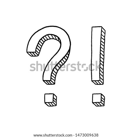 Hand drawn question mark and exclamation point. Doodle, sketch style. Question mark and exclamation point isolated on white. Vector illustration. Foto stock ©