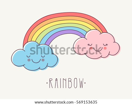 Hand Drawn Rainbow with Cute Pink and Blue Clouds.