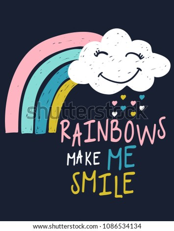 Hand drawn rainbow with slogan for printing, Graphic t shirt & Printed t shirt