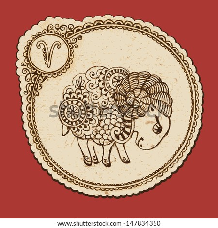 Hand drawn ram with elements of the ornament in ethnic style. Zodiac sign - Aries. Vector illustration
