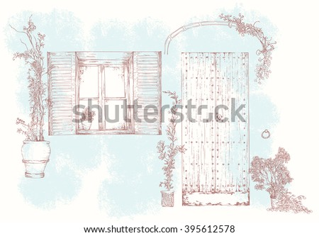 Hand Drawn Realistic Sketch Of Old Street Wooden Door Window With A Sun Blind