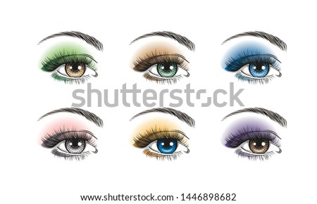 Hand-drawn realistic woman's sexy luxurious eyes with perfectly shaped eyebrows and full lashes. Concept for business visit card, typography vector. Perfect salon look. Makeup.