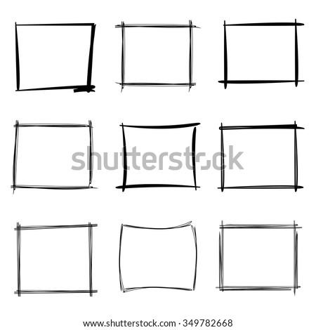 Hand Drawn Rectangle Frames Blank Sketch Borders Stock Vector Illustration 349782668  Shutterstock
