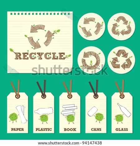 hand drawn recycle symbol and character element
