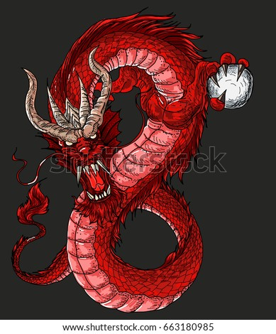 hand drawn red dragon vector