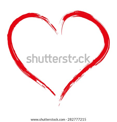 hand drawn red heart isolated