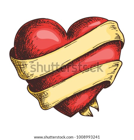 Hand drawn red heart with ribbon, colorful draft sketch isolated on white background. Vintage vector etching illustration.