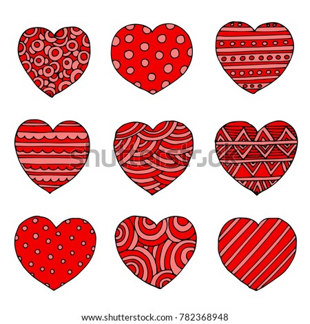Hand drawn red hearts vector doodle icons for love, Valentines Day and wedding cards. For your design.