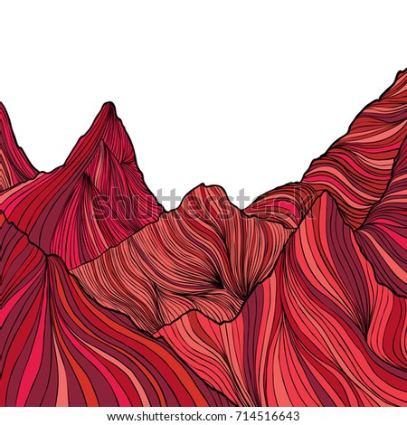 Hand drawn red mountain peak with striped line