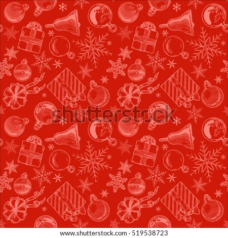 hand drawn red seamless pattern