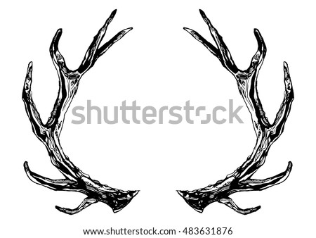 Hand drawn reindeer antlers. Vector ink illustration isolated on white background. Boho, grunge, rustic style. Prints, posters, t-shirts and textiles