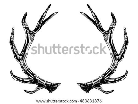 hand drawn reindeer antlers