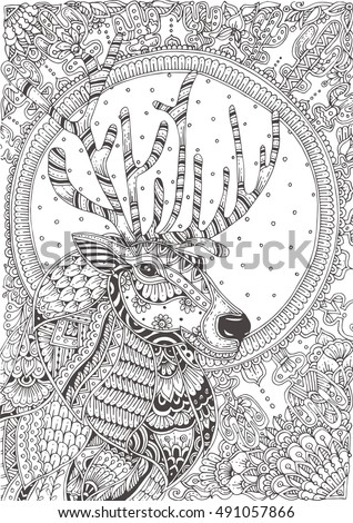hand drawn reindeer with ethnic