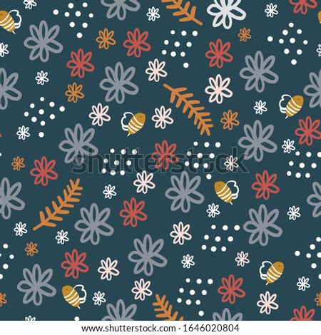 Hand-drawn Repeat Retro Floral Flower Pattern with navy blue background. Seamless floral pattern. Stylish repeating texture. Repeating texture.