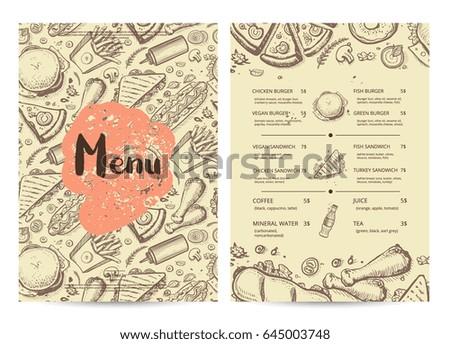 hand drawn restaurant menu