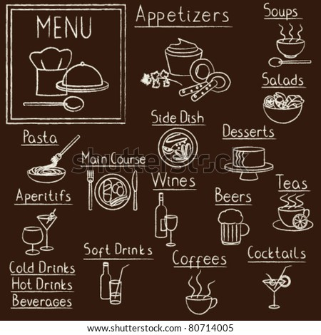 Hand drawn restaurant menu design elements on blackboard