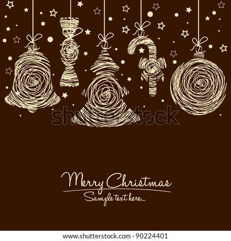 Hand Drawn Retro Christmas Ornaments