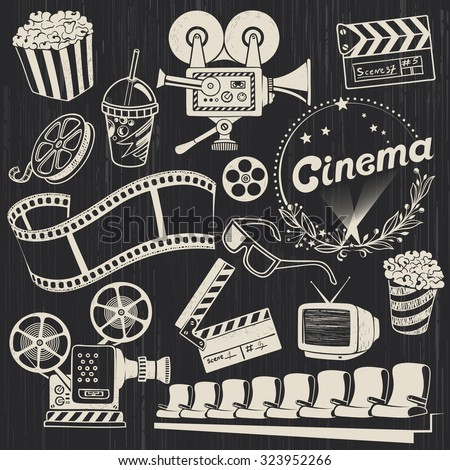 hand drawn retro cinema