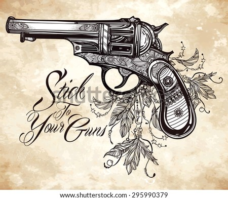 hand drawn retro gun revolver