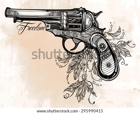 hand drawn retro gun revolver