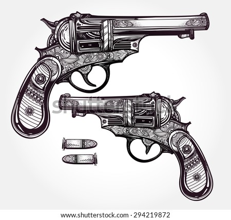 hand drawn retro gun revolvers