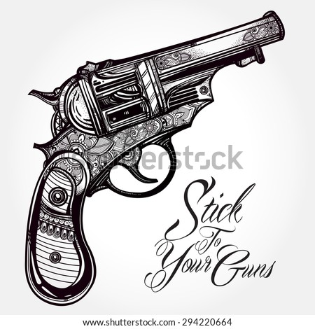 hand drawn retro gun revolvers