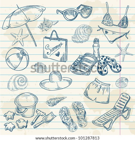 Hand drawn retro icons summer beach set on a grunge paper background