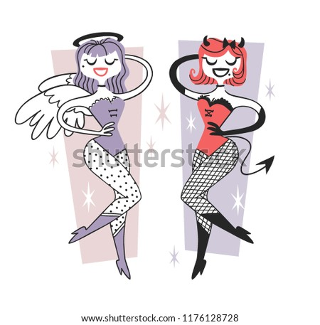 Hand drawn Retro illustration Halloween Character. Creative Cartoon art work. Actual vector drawing Holiday People. Artistic isolated Vintage Person Angel and Devil