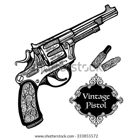 hand drawn retro pistols in